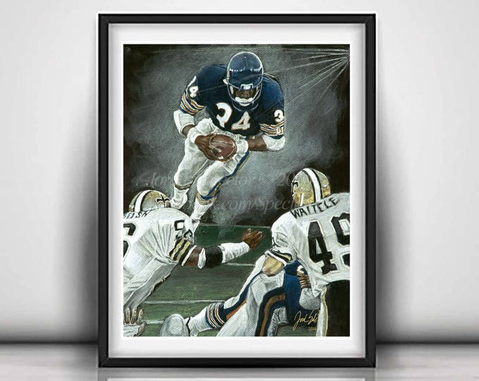 """Walter Payton """"The Great Leap"""" Limited Edition art print - 20x24 inches"""