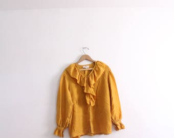 Romantic Gold Ruffled Silk Blouse