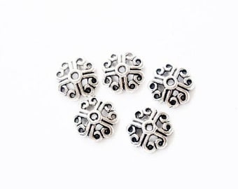 Bead caps in antique silver (set of 5)