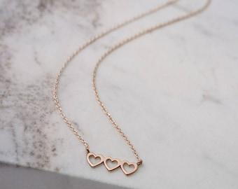 Triple Heart Necklace, Dainty Heart Necklace, Rose Gold Heart, 14K Gold Necklace, Rose Gold, Love Necklace, Women Necklace, Girlfriend Gift
