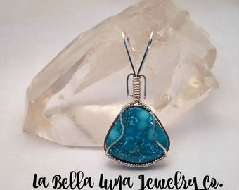 White Water Turquoise pendant, Wire wrapped pendant, Sterling silver, Wire wrapped White Water Turquoise, Silver wrapped Turquoise