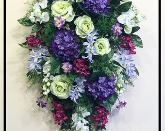Spring Summer Door Swag, Floral Door Swag, Wreath Front Door Swag, Spring Summer Swags For Front Door Decor, Spring Summer Door Wreath