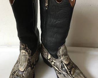 Black color men's cowboy boots from real snake leather, soft & genuine leather with embroidery vintage style western boots men's size - 10.