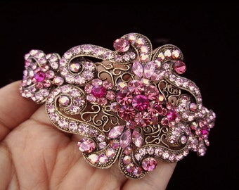 Large Crystal Victorian Style Hair Barrette Clip Accessory Ponytail Holder Antique Gold Plated Pink