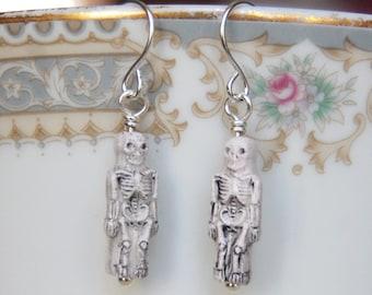 Skeleton Earrings , Halloween Earrings , Kids Earrings , Ceramic Bead Earrings