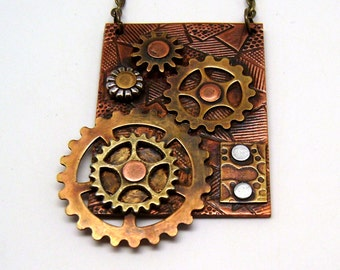 Steampunk mixed metal jewelry necklace prndant. Steampunk jewelry.
