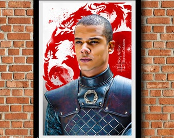 "Greyworm ""Paint of Thrones"" Digital Painting Print, Game of Thrones"
