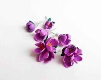 Lilac Earrings Stud Earrings Set 3 pairs Purple Lilac earrings Floral jewelry Blossom jewelry Tiny flowers Gift for her