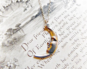 Dainty Little Sterling Silver Crescent Moon Necklace