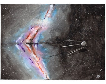 Sputnik Starscape - Original Watercolor 9x12