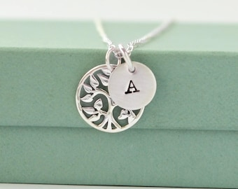 Tree Of Life Necklace - Personalized Family Tree Necklace - Family Tree Necklace - Tree Charm - Initial Necklace - Personalized Necklace -