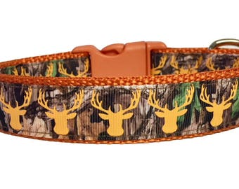 Camo - Deer Head - Dog Collar - Camouflage - Dog Gift  - Hunter  - Forest - Gift for her - gift for him - Fall - puppy -