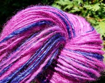Handspun Wool Yarn, Soft Wool, Silk Yarn, Purple, Magenta, Bulky, Thick & Thin, Knit, Crochet, Weave, Felt, Glitz, Rustic, Scarf