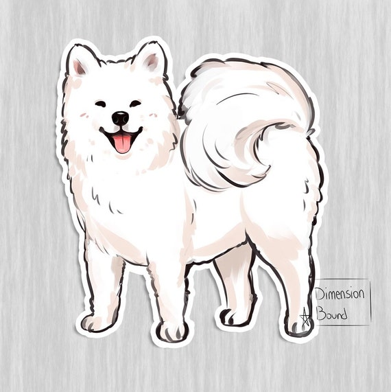 Aesthetic sticker samoyed sticker art decal dog sticker
