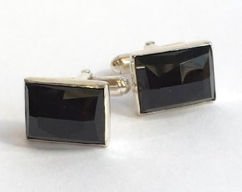 Black onyx cuff links, Gemstone cuff links, Silver cuff links, rectangle cuff links, unique bohemian cuff links -  Sudden Wind C8002-1