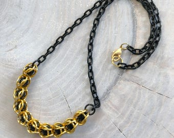 Caged Bead Chainmail Necklace Black Gold