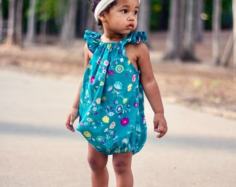 Green Floral Bubble Romper, Baby Romper, Bohemian, Girls, Newborn, Baby Clothes, Clothing