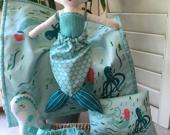 Coral Queen of the Sea Fabric Doll Set , Child Friendly Doll ,  Stacy Iset Hsu Doll Panel , Mermaid Doll , Rag Doll , Washable Child Toy