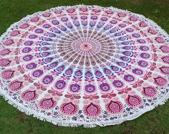 Badmeri Mandala Round Tapestry Organic Cotton Tassel Table Beach Cover Hand screen printed Ships from USA
