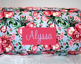 Personalized Kinder Nap Mat - Preschool Daycare Berkshire Rose on Lavender Toddler Nap Mat with a Pink Minky Dot, Children Sleeping Mat