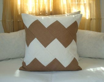 Chevron Pillow Cover in White and Camel Linen