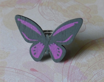 Adjustable ring with cabochon grey Butterfly