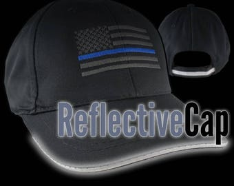 An American Thin Blue Line US Flag Embroidery on Adjustable Black Structured Adjustable Baseball Cap Reflective Trim + Option to Personalize