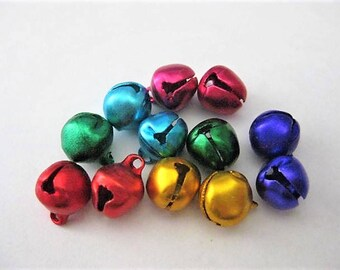 Craft Supplies ~  12  Bells  Small   Multi colors as shown   Jingle Bells   10mm   1 dozen