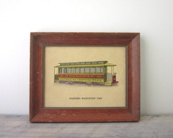 Vintage Framed Cable Car Picture