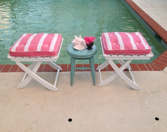 Mid Century Modern Riviera Ottomans with X Base / Pair of adjustable Patio Benches France / Pink White stripe Cushions Retro Daisy Girl