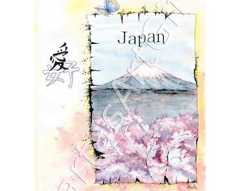 Japan, graphic, print, ink print, home decor, print wall art, illustration, nurcery painting, countries, sakura, fuji, traveling