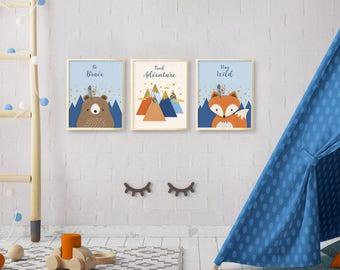 Woodland nursery, Nursery wall art, Nursery decor, Nursery woodland print set, Animal nursery print set, Nursery Set of 3 print, Printable