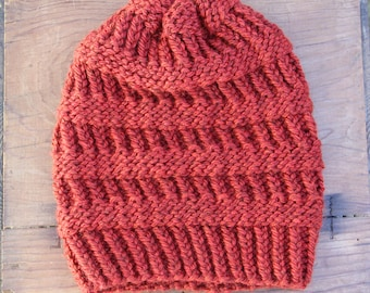 Burnt Orange Knit Beanie