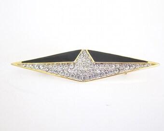 Art Deco Brooch Vintage Brooch Art Deco Style Black and Gold Rhinestone Brooch C43