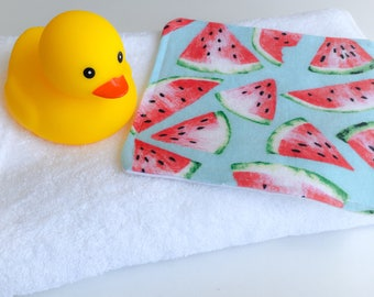 Watermelon Washcloth, Washcloth, Cloth Wipe, Baby Washcloth, Baby Gift, Toddler Gift, Eco Friendly, Family Cloth Wipe, Baby Bath Accessory