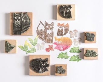 Fox Family Rubber Stamps, fox stamp, family, forest stamp, rubber stamp, craft stamp, nature stamp, art stamp, noolibirdstamps