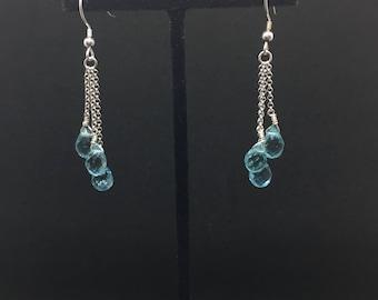 aqua quartz earrings * aqua blue * quartz * gifts for her * mother's day * march birthstone * birthday gift * something blue * bridal