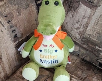 Personalized New Baby Baby Shower Gift Birth Announcement Baptism Gift Big Brother Big Sister Birthday Gift Cubbies Crocodile Stuffed Animal