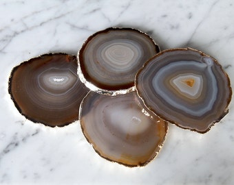 Agate Coasters Set of 2 or 4 or 6 Gold Plated / Agate Slice / Geode Coasters / Gold Rimmed Coasters / GIFT Packaging Available