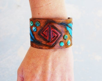 Tooled Leather Cuff Bracelet - Electric Feathers Turquoise and Brown Leather Boho Bracelet - Custom Made to Order