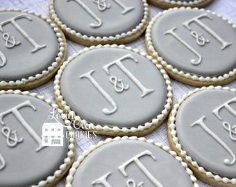 Elegant Monogram Decorated Sugar Cookies - 1 Dozen