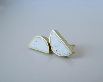 white granite brass half moon stud earrings