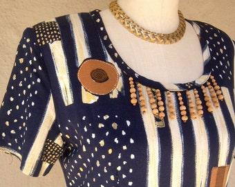 SALE 80s safari dress / short sleeve maxi dress / tribal print, BEADED sheath dress / womens medium