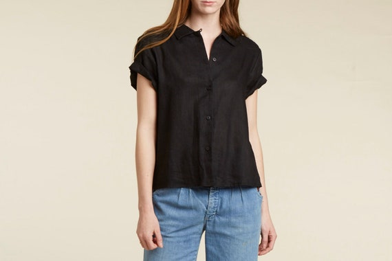 90s black linen short sleeve blouse