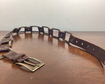 Banana Republic Brown Leather Belt, Metal Belt