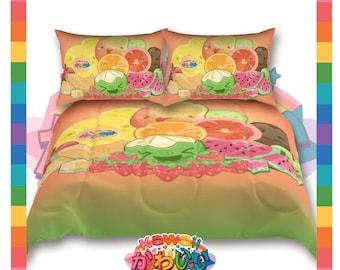 Kawaii Universe - Cute Classic Fruits Group Designer Bedspread