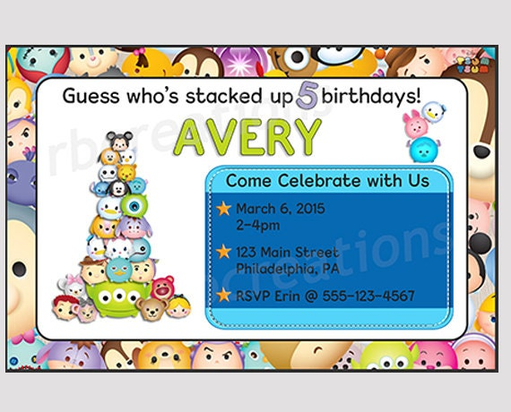 Tsum Tsum Birthday Invitation Tsum Tsum Party Tsum Tsum