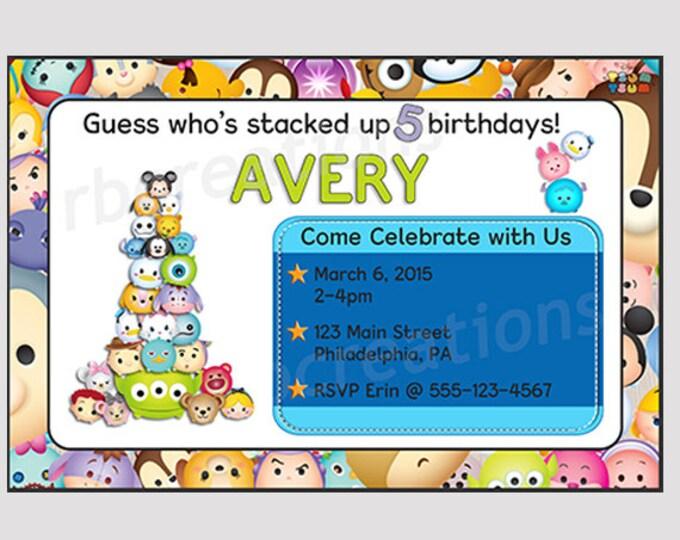 Tsum Tsum Birthday Invitation, Tsum Tsum Party, Tsum Tsum Invitation, Tsum Tsum Printables, Mickey Mouse Invitations - Digital Printable