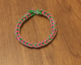 Pink and Green Fishtail Rainbow Loom Rubber Bracelet USA