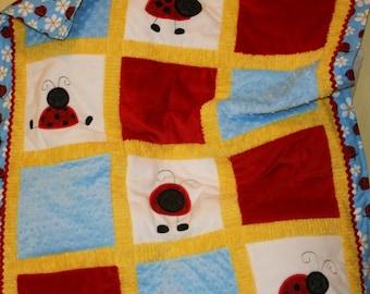 Playful Little Ladybugs Adorable  Cuddly Minky Blanket